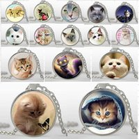 animal cat picture - Mix Lovely Cat Necklace Pet Jewelry silver Plated glass pendants Trendy Animal Pendant Necklace Art picture necklaces bijouterie