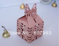 Wholesale Wedding favor box Butterfly Double Happiness Candy packaging gifts chocolate box paper candy box
