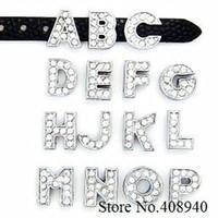 any alphabet charm silver plated - 130pcs mm Full Rhinestone Letters English Alphabet A Z DIY Slide letter Charm fit Bracelet wristband LSSL02