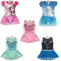 ballet swimsuit - Frozen Anna Elsa Summer Girls Dresses Children s ballet dress with short sleeves Girls swimsuit beach clothing LJJH257