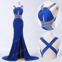 dress blue grace - Grace Karin Real Image Long Sexy Cross Back Split Sequins Evening Dresses Blue Formal Dance Prom Gown CL6277