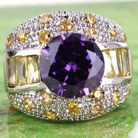 Wholesale Stunning Lady Jewelry Cluster Finger Ring AR1 Round Cut Amethyst Citrine Gemstones K Platinum Plated Ring Size