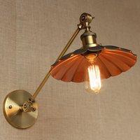 al por mayor alta titular de hierro-Iron Vintage lámpara de pared de estilo americano de país de alta calidad de metal paraguas lámpara sombra E27 lámpara titular de bombillas de Edison