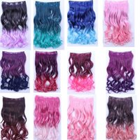 Wholesale cm Black Purple Blue Pink Green Clip In Synthetic Ombre Curly Hair Extension
