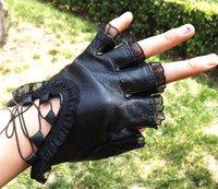 fashion fingerless leather gloves - Fashion lady PU leather half a palm fingerless gloves lace fingerless gloves