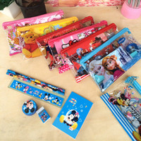 Wholesale PVC Transparent FROZEN Stationery Set frozen pencil case ruler frozen sharpener frozen eraser frozen pencil bag set pencils B