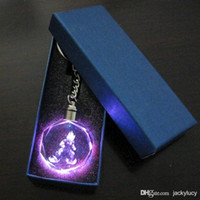10k gold chain - Classic Collection Dragon Ball Characters Cartoon Anime Action LED Colorful Crystal Keychain Key Chain Ring Gift Box Packing