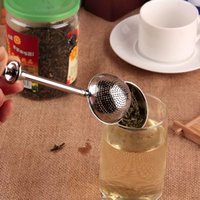 Wholesale Ball Push Style Tea Leaf Herbal Locking Infuser Strainer Teaspoon Filter