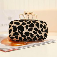 Wholesale Popular Leopard Evening Bag Skull Ring Woman Shoulder Bags with Chain Fashion Wallet