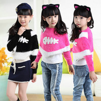cotton batting - New girls Sweaters Little Fish cartoon pattern children short Pullover fashion style bat sleeve kids clothing ab562