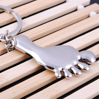 baby shower feet - Silver Plated key chain lovely baby feet shape Key ring keychain baby shower wedding gift favor fashion jewelry