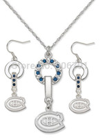 Wholesale set a Montreal Canadiens Mvp crystal rhodium Plated Necklace Earring Set sport jewelry