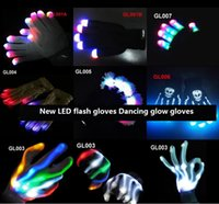 Wholesale 2016 new Halloween christmas hot selling LED flash gloves Dancing glow gloves Concert noctilucent gloves Flash gifts