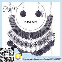 asian suppliers - 2015 china supplier Gold Plated Necklace Set Coin Necklace Earring Set Indian Wedding Jewelry sets