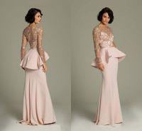 Cheap Promotion 2014 Pink Lace Long Sleeve Evening Dresseses Sheer Gold Applique Prom Gowns Peplum Floor Length Light Long Chiffon Formal Dress
