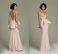 Wholesale Promotion Pink Lace Long Sleeve Evening Dresses Sheer Gold Applique Prom Gowns Peplum Floor Length Long Chiffon Formal Dress Real Image