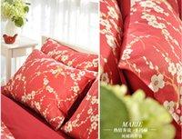 Cheap Brand bedding set red satin comforter cover set Egyptian cotton long staple cotton satin four piece set reactive print bedding
