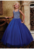 Wholesale Classic Straps Tulle Royal Blue Ball Gown Girls Pageant Dress Little Girls Pageant Prom Dresses Flower Girl s Dress