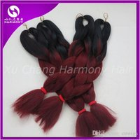Wholesale Kanekalon Jumbo Braiding Synthetic Hair Folded length inch g Black burdundy Ombre Two Tone Colored Hair Extension