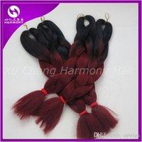 kanekalon hair - Kanekalon Jumbo Braiding Synthetic Hair Folded length inch g Black burdundy Ombre Two Tone Colored Hair Extension