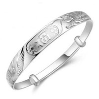 Wholesale Sterling Silver Bangle Dragon Phoenix Charm Cuff Bracelet Bangles Chain For Women Party Birthday Fashion Jewelry