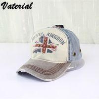 Precio de Casquillo bretaña-Último viaje por mayor-Corea moda femenina verano gorra de béisbol de algodón palabra bandera nacional bretaña mens equipado sombreros montón