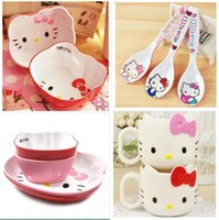 bamboo melamine - Hello Kitty tableware melamine cutlery dinner set dishes spoon cup bowl pieces sets fruit buffet plate kids food container