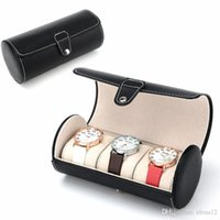 Wholesale 3 grid cylinder watch box Luxury watches box PU leather watch box watch box Smart Watch box BY DHL