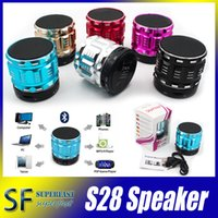 Wholesale Mini Speakers Bluetooth Outdoor Speakers S28 Hands free Mic Stereo Portable Speakers TF Card Call Function Retail Package