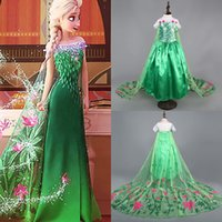 Wholesale Princess Clothes Frozen Elsa Princess Dresses Elsa Anna Dresses Costume Kids Party Dress Hot Selling Long Cape dress Green