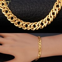 Wholesale Bracelet Men Jewelry With quot K quot Stamp New Trendy Gift K Real Gold Plated cm cm Link Chain Bracelet H540