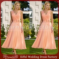 apricot bridesmaid dress - Tea Length Bridesmaid Dresses V Neck A Line Flowy Chiffon Apricot Cheap Prom Dresses with Bowknot