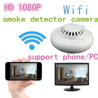 Wholesale 1080P WIFI IP Hidden with H WIFI port Covert video Camera Motion Detector HD Wireless P2P Function Security smoke detector support phone