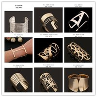 armlets - Gold Cuff Bangle Punk Hollow Out Wedding Bracelets Fashion Armlets Jewelry Big Gold Plated For Women
