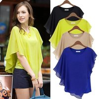 blouse free size - 2008 Top Quality Women s Plus Size XXXL Clothing Blouses Shirts Chiffon Flouncing Bat sleeve Blouse Ladies O neck Tops Free
