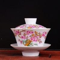 al por mayor té de la flor del melocotón-Teacup auténtico Jingdezhen porcelana melocotón flor gaiwan taza kongfu té conjunto cerámica taza 200cc bonito regalo