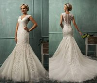Cheap 2014 Amelia Sposa Wedding Dresses Mermaid V Neck Cap Sleeve Lace Tulle Appliques Sheer Backless Bridal Dresses