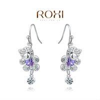 Wholesale Christmas Delicate Large zircon Earrings Gift to girlfriend is beautiful Pure handmade fashionable elegance