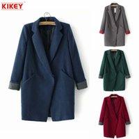 Cheap 2014 Abrigo De Invierno Las Mujeres Manteau Femme Contrast Color Woolen Coat Jacket Leisure Abrigo Mujer Invierno NZ1404
