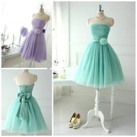 Cheap 2014 Short Lovely Mint Tulle Bridesmaid Dresses For Teens Young Girls Chic Flower Bow Sash Lace up Strapless Bridal Party Beach Wear Gowns