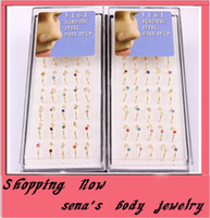 cz gems - hoop nose ring mix color CZ gem body jewelry piercing nose stud gold nose rings
