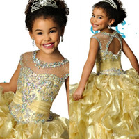 Wholesale Custom Made Jewel Ball Gowns Yellow Organza Beaded Crystal Girls Pageant Dresses Ritzee Formal Kids Party Prom Gowns J