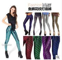 Cheap 2015 New Women Sexy Fish Scale Pattern Leggings Metallic Clubwear Fashion Pants High-waisted Casual Wear