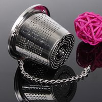 Wholesale New Household Silver cm Stainless Steel Herbal Ball Tea Infuser Tea Strainer With Chain order lt no track