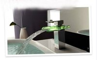 Cheap 4013 LED Glass Waterfall Bathroom Lavatory Faucet Mixer Tap
