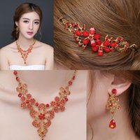 Wholesale In Stock Red Evening Wedding Jewelry Sets Include Hair Decoration Necklace Earrings New Cheap Formal Party Prom Jewelry Wear
