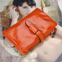 best oil photo - 2016 Best Genuine Oil Wax Leather Women Wallet Three fold Purse Short Design Fashion Vintage Coin Wallets Bag