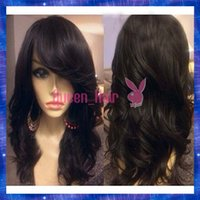 lace front wigs - Side Part Natural Wavy Human Hair Wigs With Bangs Virgin Peruvian Hair Glueless Full Lace Wigs With Bangs Natural Lace Front Wig
