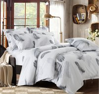 bedsheets cotton - Black and white bedding set feather duvet cover queen king size full twin double bed sheets bedspreads quilt linen cotton plume bedsheets