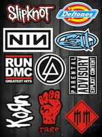 bicycle set stickers - 10pcs Set Rock Band punk Stickers for laptop skateboard bicycle suitcase pvc Design DIY Music Accessory slipknot